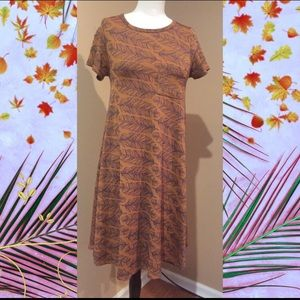Lularoe Carly dress with jacquard feather design